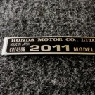 HONDA CRF-450R 2011 MODEL TAG HONDA MOTOR CO., LTD. DECAL