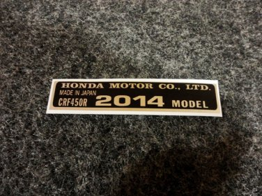 HONDA CRF-450R 2014 MODEL TAG HONDA MOTOR CO., LTD. DECAL