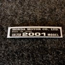 HONDA CR-125R 2001 MODEL TAG HONDA MOTOR CO., LTD. DECALS