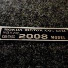 HONDA CRF-250X 2008 MODEL TAG HONDA MOTOR CO., LTD. DECAL