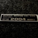 HONDA CRF-250R 2004 MODEL TAG HONDA MOTOR CO., LTD. DECAL