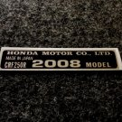 HONDA CRF-250R 2008 MODEL TAG HONDA MOTOR CO., LTD. DECALS