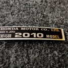 HONDA CRF-450R 2010 MODEL TAG HONDA MOTOR CO., LTD. DECALS