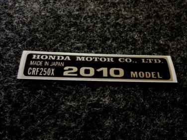 HONDA CRF-250X 2010 MODEL TAG HONDA MOTOR CO., LTD. DECAL