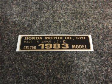 HONDA CR-125R 1983 MODEL TAG HONDA MOTOR CO., LTD. DECALS