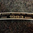 HONDA CR-80R 1983 MODEL TAG HONDA MOTOR CO., LTD. DECALS