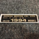 HONDA CR-125R 1994 MODEL TAG HONDA MOTOR CO., LTD. DECALS