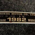 HONDA CR-80R 1982 MODEL TAG HONDA MOTOR CO., LTD. DECALS