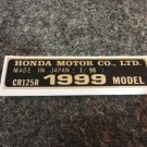 HONDA CR-125R 1999 MODEL TAG HONDA MOTOR CO., LTD. DECALS