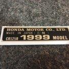 HONDA CR-125R 1999 MODEL TAG HONDA MOTOR CO., LTD. DECALS