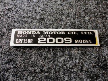 HONDA CRF-150R 2009 MODEL TAG HONDA MOTOR CO., LTD. DECAL