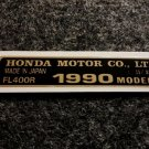 HONDA FL-400R 1990 MODEL TAG HONDA MOTOR CO., LTD. DECALS