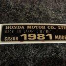 HONDA CR-80R 1981 MODEL TAG HONDA MOTOR CO., LTD. DECALS