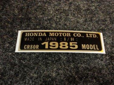 HONDA CR-80R 1985 MODEL TAG HONDA MOTOR CO., LTD. DECALS