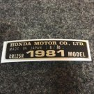 HONDA CR-125R 1981 MODEL TAG HONDA MOTOR CO., LTD. DECALS