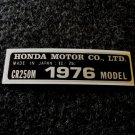 HONDA CR-250M 1976 MODEL TAG HONDA MOTOR CO., LTD. DECALS