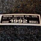 HONDA CR-80R 1992 MODEL TAG HONDA MOTOR CO., LTD. DECALS