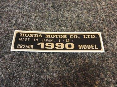 HONDA CR-250R 1990 MODEL TAG HONDA MOTOR CO., LTD. DECALS