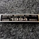 HONDA CR-80R 1994 MODEL TAG HONDA MOTOR CO., LTD. DECALS