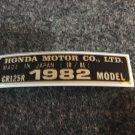 HONDA CR-125R 1982 MODEL TAG HONDA MOTOR CO., LTD. DECALS