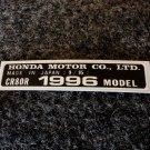 HONDA CR-80R 1996 MODEL TAG HONDA MOTOR CO., LTD. DECALS