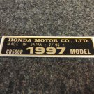 HONDA CR-500R 1997 MODEL TAG HONDA MOTOR CO., LTD. DECALS