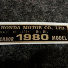 HONDA CR-80R 1980 MODEL TAG HONDA MOTOR CO., LTD. DECALS