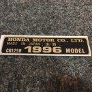 HONDA CR-125R 1996 MODEL TAG HONDA MOTOR CO., LTD. DECALS