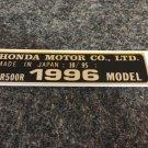HONDA CR-500R 1996 MODEL TAG HONDA MOTOR CO., LTD. DECALS