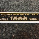 HONDA CR-500R 1999 MODEL TAG HONDA MOTOR CO., LTD. DECALS