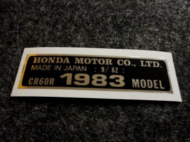 HONDA CR-60R 1983 MODEL TAG HONDA MOTOR CO., LTD. DECALS