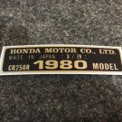 HONDA CR-250R 1980 MODEL TAG HONDA MOTOR CO., LTD. DECALS