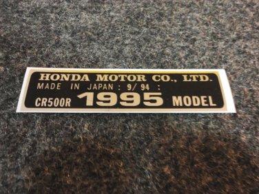 HONDA CR-500R 1995 MODEL TAG HONDA MOTOR CO., LTD. DECALS