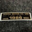 HONDA CR-80R 1986 MODEL TAG HONDA MOTOR CO., LTD. DECALS