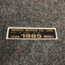 HONDA CR-500R 1985 MODEL TAG HONDA MOTOR CO., LTD. DECALS