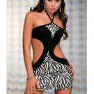 Mini Vestido Corto Sexy Zebra Print Dress