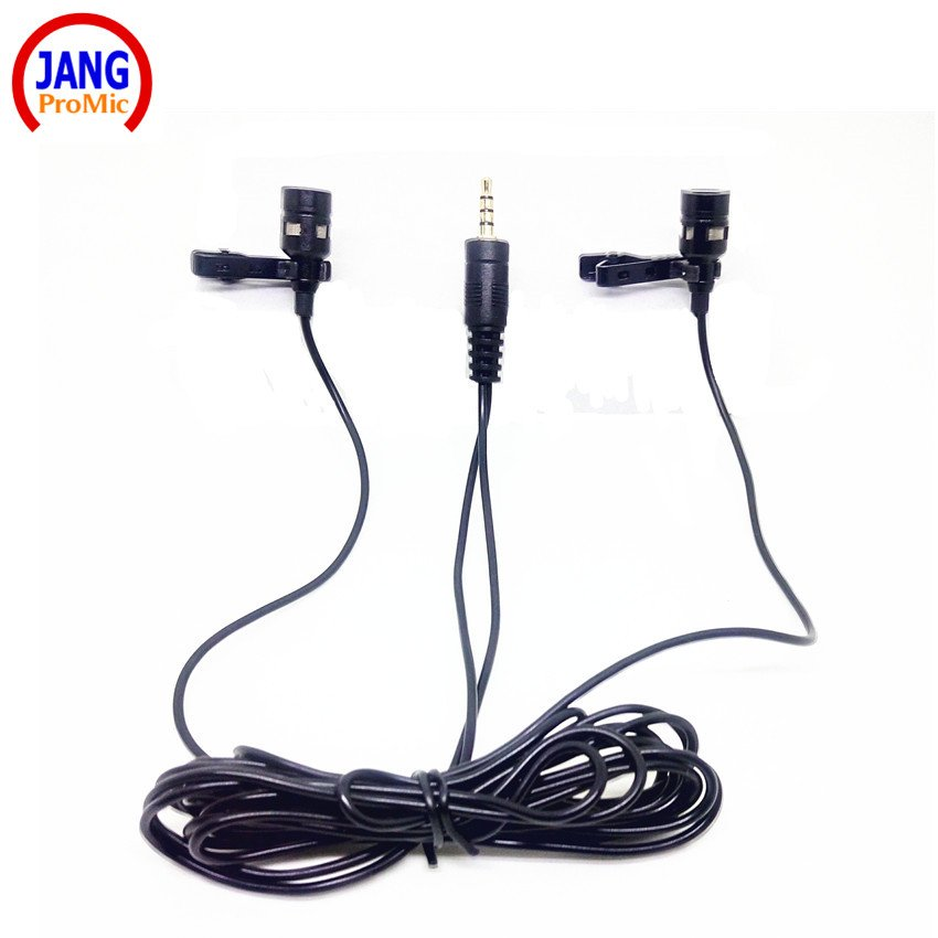 Professional Lavalier Mobile Phone Microphone with Two Recording Microfone for Most Phone Interview