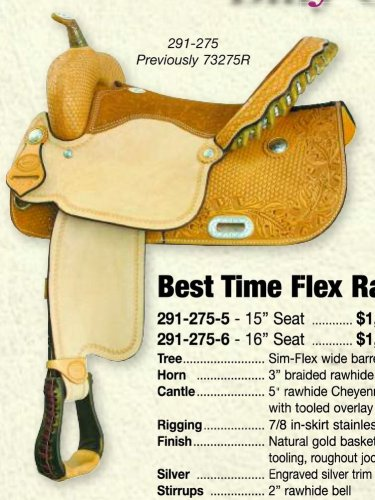 "Billy Cook Best Time Flex Barrel Racer 15"" or 16"" Saddle"