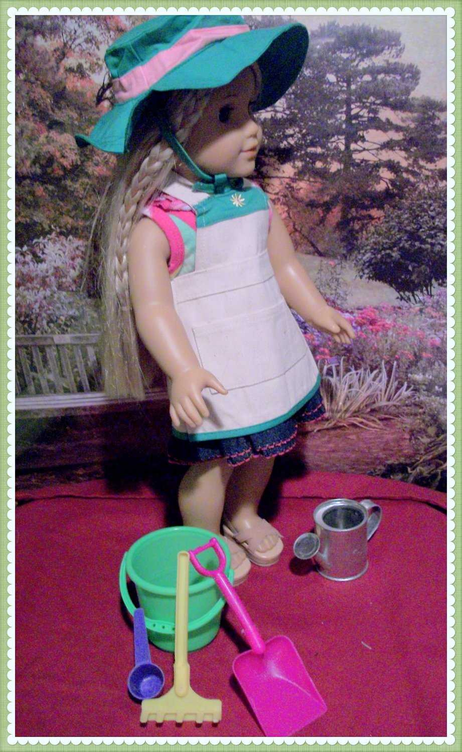 Gardening set with apron for american girl 18 inch dolls for Garden tools for 18 inch doll