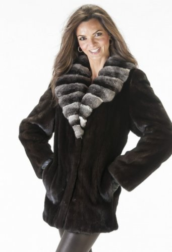 Waist Length Mink Coat With Chinchulla Collar Norka Mink Chinchilla Collar Coats