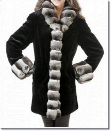 Women Waist Length Amazing Mink Fur Coat Chinchulla Collar Ladies Overall