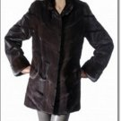 Dark Norka Mink Coat Women Minkcoat Fur Dark Color 2 Side Pocket