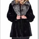 Female Mink Fur Coat Jacket Women's Norka Minkcoat With Fox Sable Custom Sizes