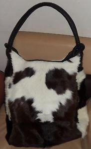 Leather Black and White Fur Cowhide Handbag Cow Hide Hobo Shoulder Purse Bags