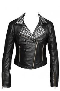 Women Motorcycle Black Leather Jacket With Studded Collar on Sale, Size XS-4XL