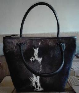 Cowhide Fur Leather Handbag Shoulder Bag Cow Hide Skin Genuine Leather Purse
