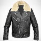 Cow Leather Jacket Black NEW Men's Genuine Sheep Fur Sheared Collar XS - 6XL
