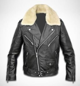 Cow Leather Jacket Black NEW Men's Genuine Sheep Fur Sheared Collar XS - 6XL