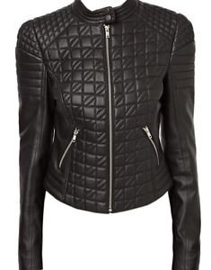Women Quilted Bomber Moto Racer Biker Sheep Leather Jacket Long Sleeves, XS-4XL