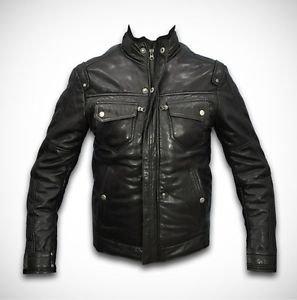 Men's Leather Motorcycle Jacket Bomber Jacket Black Real Leather XS - 6XL